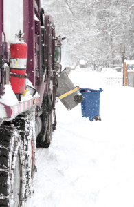 Automated Garbage Truck in snow